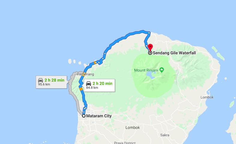 Rute ke air terjun Sendang Gile dari Mataram Lombok sumber gmaps