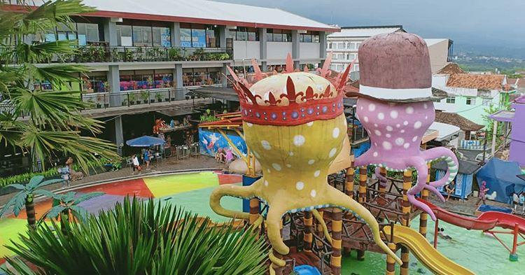 Foto dari atas kolam renang di Batu Wonderland Resort, ig didagotourrr