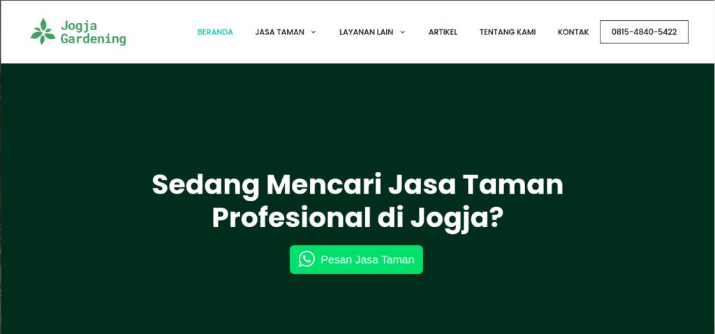 Tampak situs website Jogja Gardening, foto: screenshots